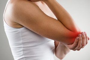 Picture of woman with left elbow pain